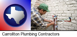 Carrollton, Texas - a plumbing contractor installing new water supply lines