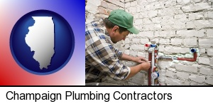 a plumbing contractor installing new water supply lines in Champaign, IL