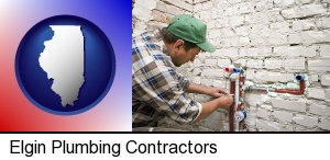 Elgin, Illinois - a plumbing contractor installing new water supply lines
