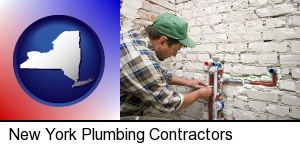 a plumbing contractor installing new water supply lines in New York, NY