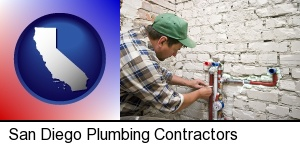 San Diego, California - a plumbing contractor installing new water supply lines