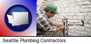 Seattle, Washington - a plumbing contractor installing new water supply lines