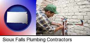 a plumbing contractor installing new water supply lines in Sioux Falls, SD