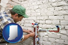 in map icon and a plumbing contractor installing new water supply lines