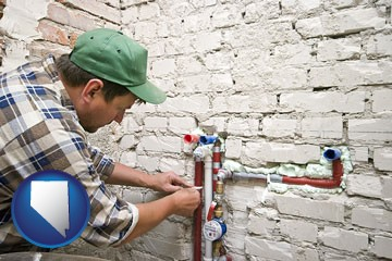 a plumbing contractor installing new water supply lines - with Nevada icon
