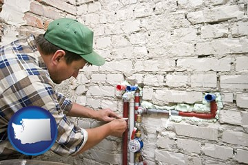 a plumbing contractor installing new water supply lines - with Washington icon