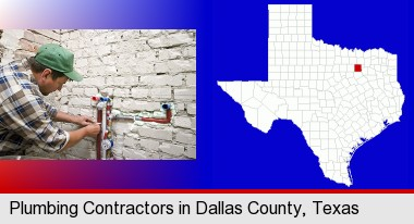 a plumbing contractor installing new water supply lines; Dallas County highlighted in red on a map