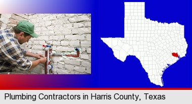 a plumbing contractor installing new water supply lines; Harris County highlighted in red on a map