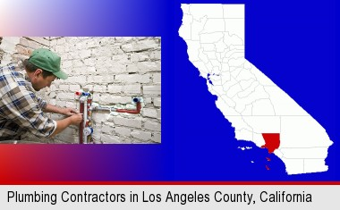 a plumbing contractor installing new water supply lines; Los Angeles County highlighted in red on a map