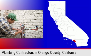 A Plumbing Contractor Installing New Water Supply Lines; Orange County  Highlighted In Red On A