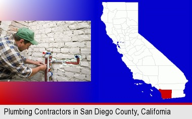 a plumbing contractor installing new water supply lines; San Diego County highlighted in red on a map